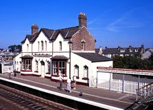 Llanfair PG railway station. Stock Photo