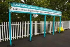 Longest Place Name in Britain. Llanfair PG, Wales - August 12th 2018: The train platform at Llanfairpwllgwyngyllgogerychwyrndrobwllllantysiliogogogoch in Wales royalty free stock image