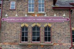 Llanfairpwllgwyngyll staci kolejowej znak Fotografia Stock