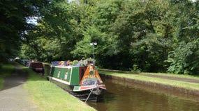 Llangollen canal. Narrow Boat on Llangollen canal in Wales stock photos