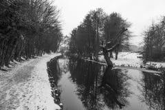 Llangollen kanał w zimie Obraz Royalty Free