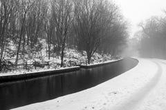 Llangollen kanał w zimie Fotografia Royalty Free