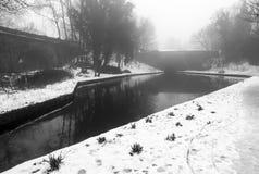 Llangollen kanał w zimie Obrazy Royalty Free
