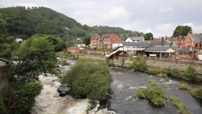 Llangollen north Wales uk River Dee fast flowing through the beautiful Welsh tourist destination stock footage