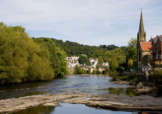 Llangollen river scene. View of Llangollen in Wales from the river royalty free stock photos