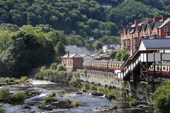 Llangollen river and train royalty free stock photos