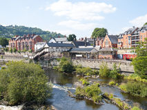 Llangollen in Wales UK. Llangollen with railway station and the River Dee in Wales UK Stock Photography