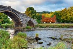 Llanrwst桥梁在北部威尔士 免版税库存照片