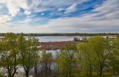 Llanura de inundación de la última primavera de Volga Fotografía de archivo