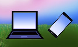 Llaptop en mobiele telefoon Royalty-vrije Stock Afbeelding