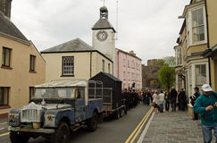 Llareggub Cortege, Laugharne. LAUGHARNE, CARMARTHENSHIRE - MAY 5 2014: The theatrical funeral cortege parading through the streets of Laugharne as part of Royalty Free Stock Photo