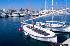 Llaut traditional latin sail boat in Formentera Royalty Free Stock Images