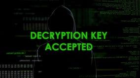 Llave aceptada, contraseña del desciframiento del hallazgo del pirata informático para enviar por correo electrónico con datos se metrajes