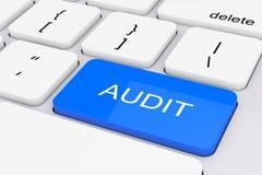 Llave azul de la auditoría en el teclado blanco de la PC representación 3d Fotografía de archivo libre de regalías