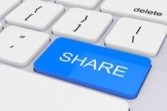 Llave azul de la parte en el teclado blanco de la PC representación 3d Fotografía de archivo libre de regalías