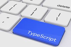 Llave azul del mecanografiado en el teclado blanco de la PC representación 3d libre illustration