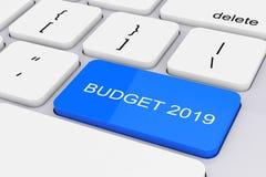 Llave azul del presupuesto 2019 en el teclado blanco de la PC representación 3d fotos de archivo libres de regalías