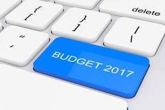 Llave azul del presupuesto 2017 en el teclado blanco de la PC representación 3d Imagen de archivo