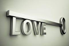 Llave con amor Fotografía de archivo libre de regalías