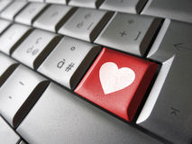 Llave de ordenador del icono del corazón del amor Imágenes de archivo libres de regalías