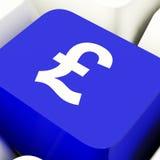 Llave de ordenador del símbolo de la libra en dinero que muestra azul y la inversión Fotos de archivo