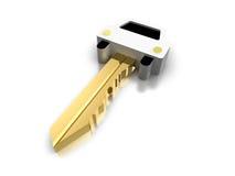Llave de oro 3d del coche Imágenes de archivo libres de regalías