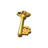 Llave de oro del tesoro de la forma del dólar en el blanco, renderin 3D Fotos de archivo