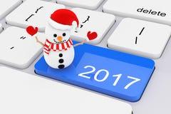 Llave del Año Nuevo del azul 2017 con el muñeco de nieve en el teclado blanco de la PC 3d ren Imagen de archivo