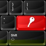 Llave del botón del ordenador Fotografía de archivo libre de regalías