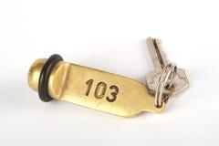 Llave del hotel para el sitio 103 Fotos de archivo