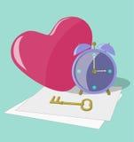 Llave del reloj del corazón Fotografía de archivo libre de regalías