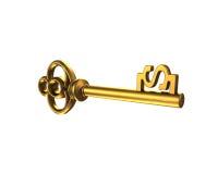 Llave del tesoro del oro en la forma del dólar, representación 3D Fotografía de archivo libre de regalías