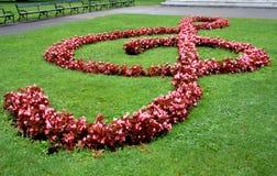Llave del violín en la tierra hecha por la hierba y las flores en Viena, Au Fotografía de archivo libre de regalías