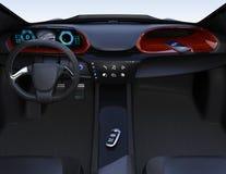 Llave elegante del coche en la consola central del ` s del coche eléctrico ilustración del vector