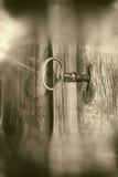 Llave en grunge de la sepia de la cerradura Fotografía de archivo libre de regalías