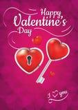 Llave feliz del día de tarjetas del día de San Valentín Imagen de archivo