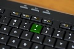 Llave negra del dólar de $ del verde del teclado de ordenador Imagen de archivo