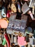 Llave principal del amor en la torre de Namsan Seul imagen de archivo libre de regalías
