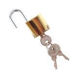 Llave principal y llaves aisladas en blanco Fotografía de archivo