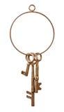 Llavero y llaves de cobre amarillo Foto de archivo libre de regalías