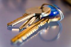 Llaves con las baratijas, primer, llaves al hogar imagen de archivo
