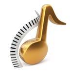 Llaves de oro de la nota y del piano de la música Imagen de archivo libre de regalías