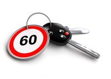 Llaves del coche con la señal de tráfico del límite de velocidad en llavero stock de ilustración