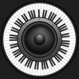 Llaves del piano del círculo con el altavoz Fotos de archivo