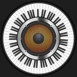 Llaves del piano del círculo con el altavoz Fotografía de archivo