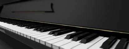 Llaves del piano en piano negro ilustración 3D Fotografía de archivo libre de regalías