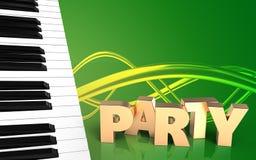 llaves del piano del espacio en blanco 3d Imagen de archivo libre de regalías