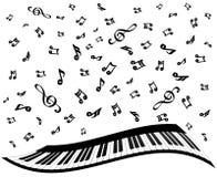Llaves del piano y notas de la música sobre el blanco, ejemplo común del vector ilustración del vector