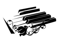 Llaves del piano y vector color de rosa de la flor imagenes de archivo