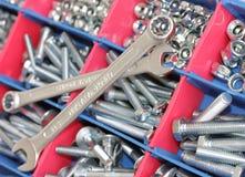 Llaves inglesas, tornillos y tuercas Fotografía de archivo libre de regalías